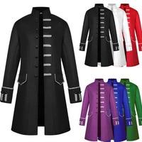 Adult Men Medieval Costume Turtleneck Jacket Battle Hero Outfit Winter Coat Steampunk Jacket Stand Collar Halloween Cosplay 2XL