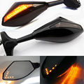 Black Motorcycle LED Turn Signal Integrated Indicator Rearview Side Mirror For Yamaha YZF R1 R6 R6S FZ1 FAZER