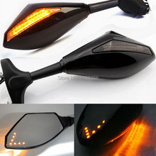 Black Motorcycle LED Turn Signal Integrated Indicator Rearview Side Mirror For Yamaha YZF R1 R6 R6S