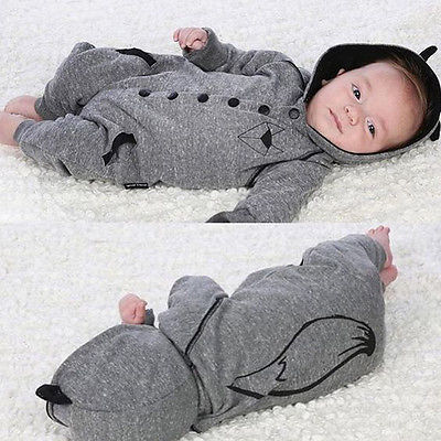 Newborn Baby Boy Girl Clothing Fox Hooded Clothes Outfits Jumpsuit Rompers Cute Warm Baby Boys Playsuit 0-24M baby rompers one piece newborn toddler outfits baby boys clothes little girl jumpsuit kids costume baby clothing roupas infantil