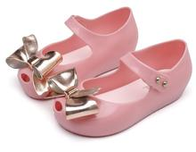 Melissa Mini Plating Bowtie Shoes Jelly Shoe Girl Non-slip Kids Toddler Beach Sandals Cut  For Girls