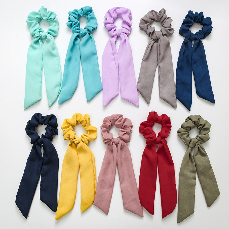 Elastic Solid Ribbon Horsetail Tie Bow Streamers Girl Hair Bands  Hair Ring