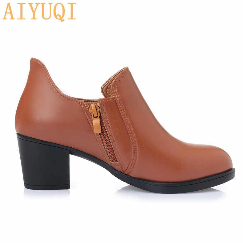 2019 yeni kadın elbise. Pompaları moda hakiki deri kadın ayakkabı. Kare topuklu ayakkabılar kadın chaussure femme sivri burun çizmeler