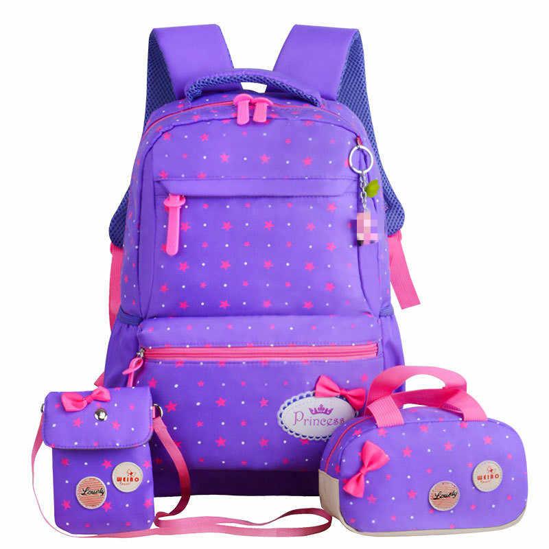 Школьные рюкзаки для подростков девочек Печать Рюкзак детский ортопедический рюкзак 3 шт./компл. рюкзак школьный sac infantil