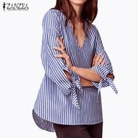 ZANZEA Fashion Women Sexy V Neck Blue Loose Elegant Blouse Shirts Puff Sleeve Long Tops Striped Shirt Blusas Femininas Plus Size
