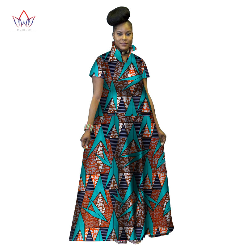 Fashion Print Long Ball Gown Dresses Bazin Riche African Stand Collar Dress for Women Traditional African Clothing WY2802