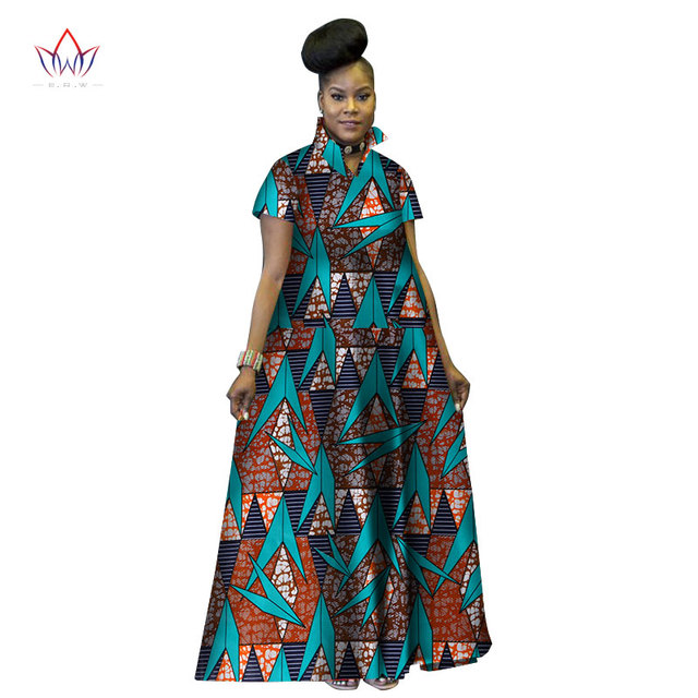 Fashion Print Long Ball Gown Dresses Bazin Riche African Stand ...