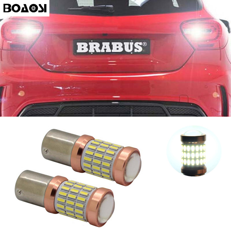 BOAOSI 2x Car lights White LED 4014SMD 1156 Backup Reverse Light Bulb For <font><b>Mercedes</b></font> <font><b>Benz</b></font> w204 c class 2007-2014 image