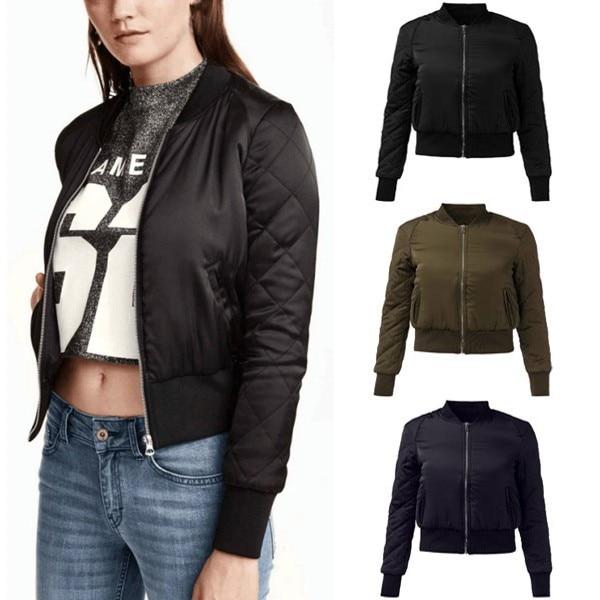 4f1bfbf66e4 ZANZEA Autumn Winter Warm Fashion Womem Short Bomber Jacket Stand Collar  Cotton Padded Zipper Coat Casual Outerwear Plus Size-in Basic Jackets from  Women s ...
