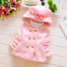 Повседневное плотное шерстяное пальто для девочек; детская рубашка с капюшоном; двубортная верхняя одежда с бантом и карманами; Детские теплые куртки; одежда