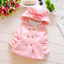 Girls casual thick woolen coats Children's hooded shirt bow pocket double-breasted outerwear Baby kids wam jackets clothes(China)
