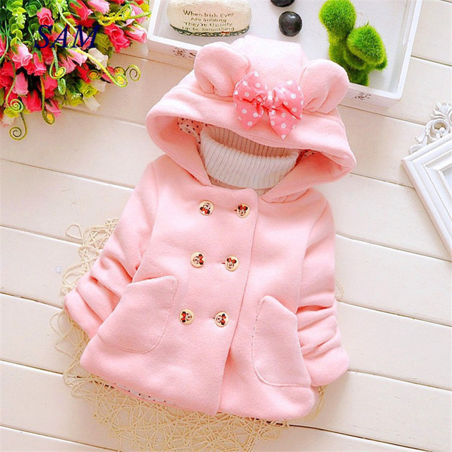 Girls casual thick woolen coats Children's hooded shirt bow pocket double-breasted outerwear Baby kids wam jackets clothes