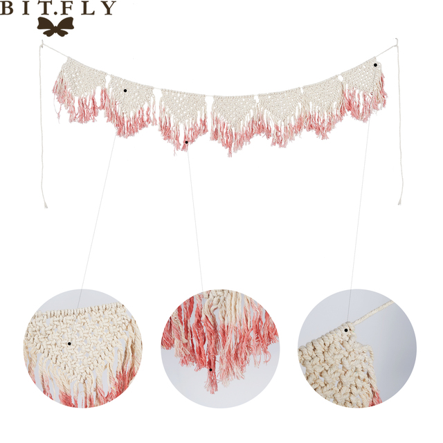 rustic decoration cotton pull banners wedding background  Handmade cotton Macrame Hanging Wall Tapestry Bohemia style fiber art