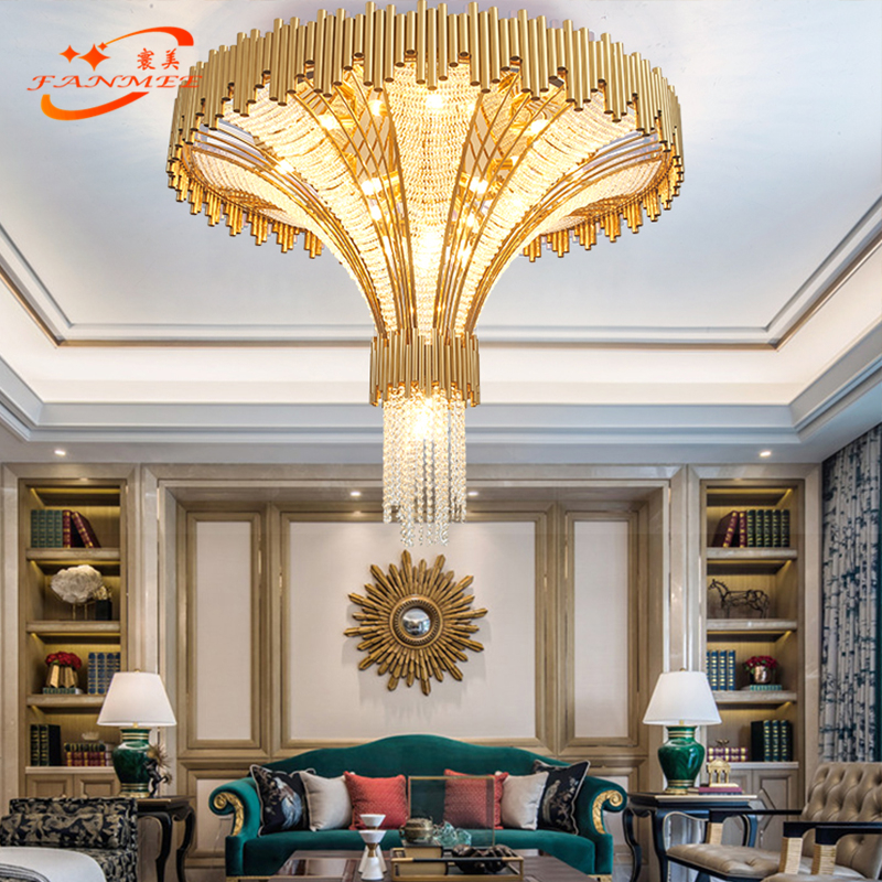 Modern Big Hotel Crystal Chandelier Lighting Large LED Stairwell Chandeliers Lamp Luxury Stair Pendant Hanging Light Fixture in Chandeliers from Lights Lighting