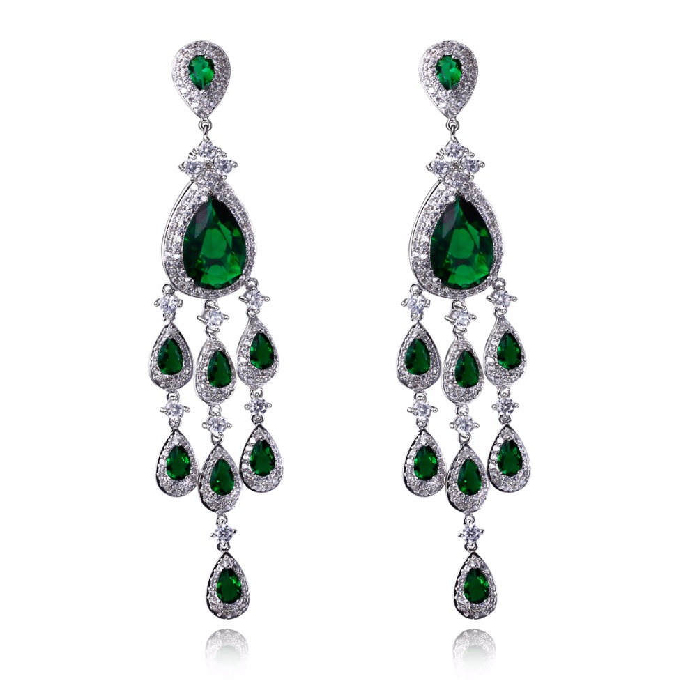 Bohemian Style CZ Stone Luxury Long Earrings White Color High Quality Cubic Zirconia Ethnic Earrings Women Fashion Jewelry colorful cubic zirconia hoop earring fashion jewelry for women multi color stone aaa cz circle hoop earrings for party jewelry