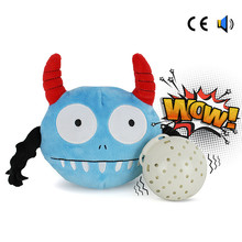 Pet Toys Automatic Electric Poppy Dog Squeak Plush Jumping Monster Giggle Chew Ball Toy Bite Resistant Supplies For