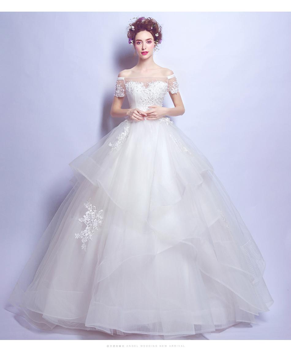 Angel Wedding Dress Marriage Bride Bridal Gown Vestido De Noiva 2017 Boat Neck Nail, lace, 2129 10