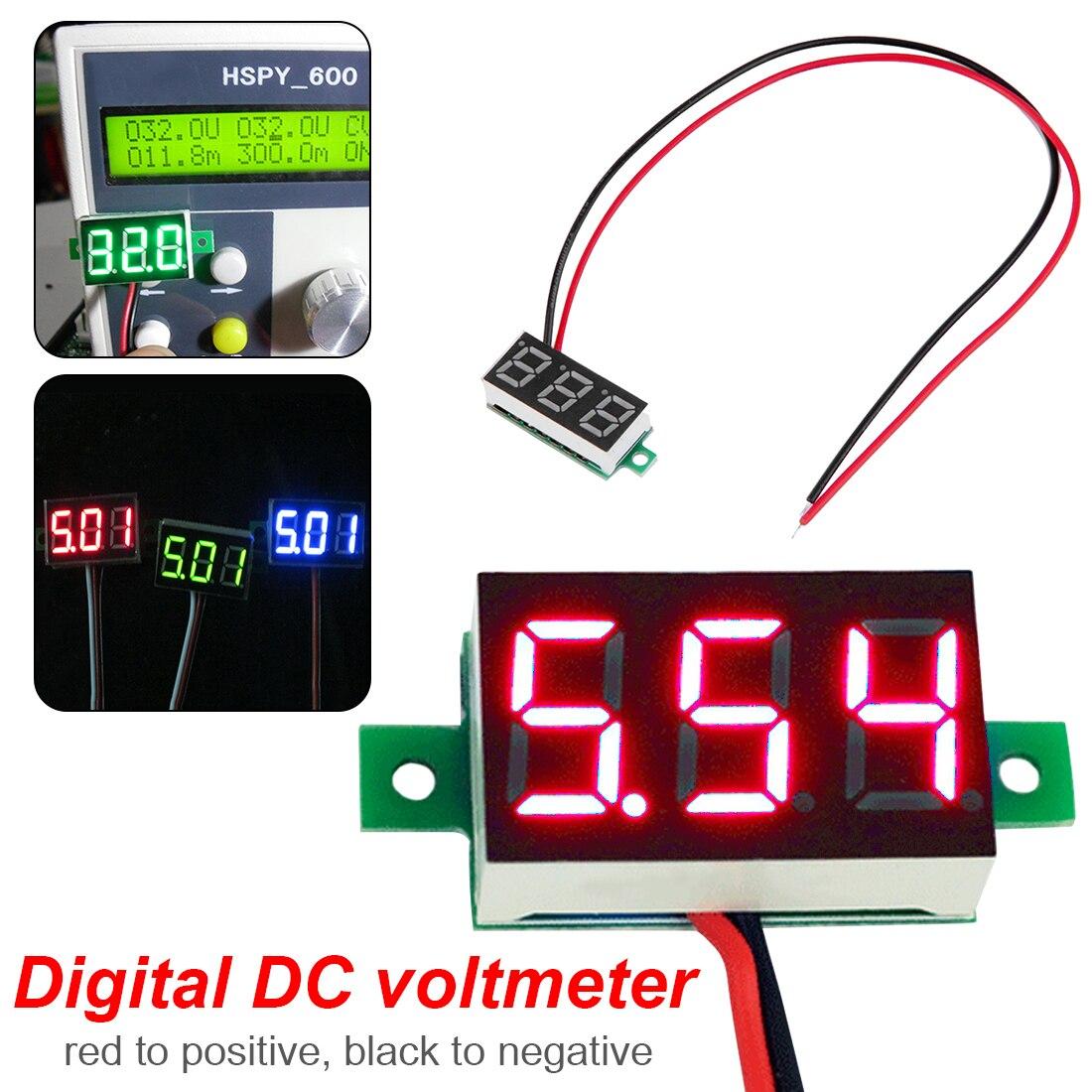 LED Digital Voltmeter Voltage Tester Meter 0 36 Inch 2 5V 30V LED Screen Electronic Parts Accessories Digital Voltmeter in Voltage Meters from Tools