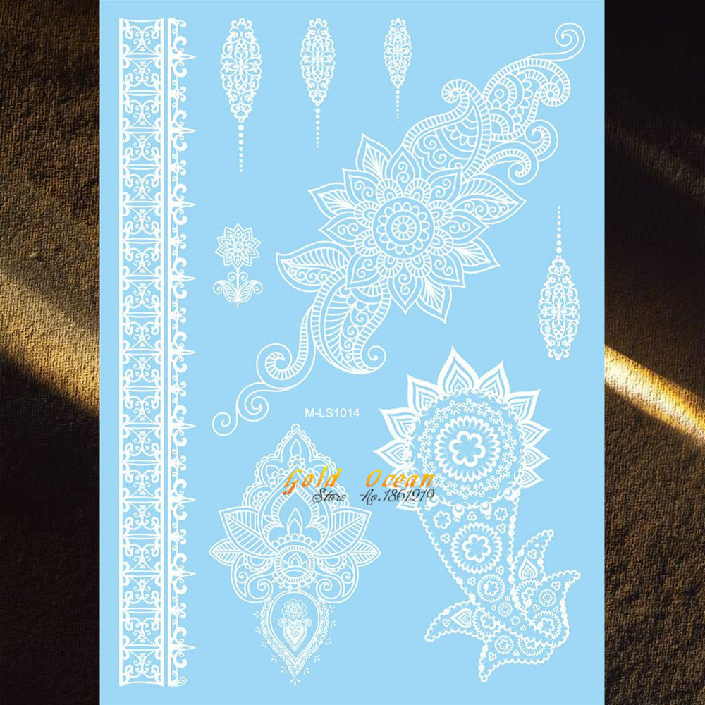 Us 0 86 Besar Henna Tahan Air Palsu Flash Tattoo Tinta Putih Warna Wedding Party Desain 20x15 Cm Renda Mehndi Tato Removable Tattoo Di Sementara