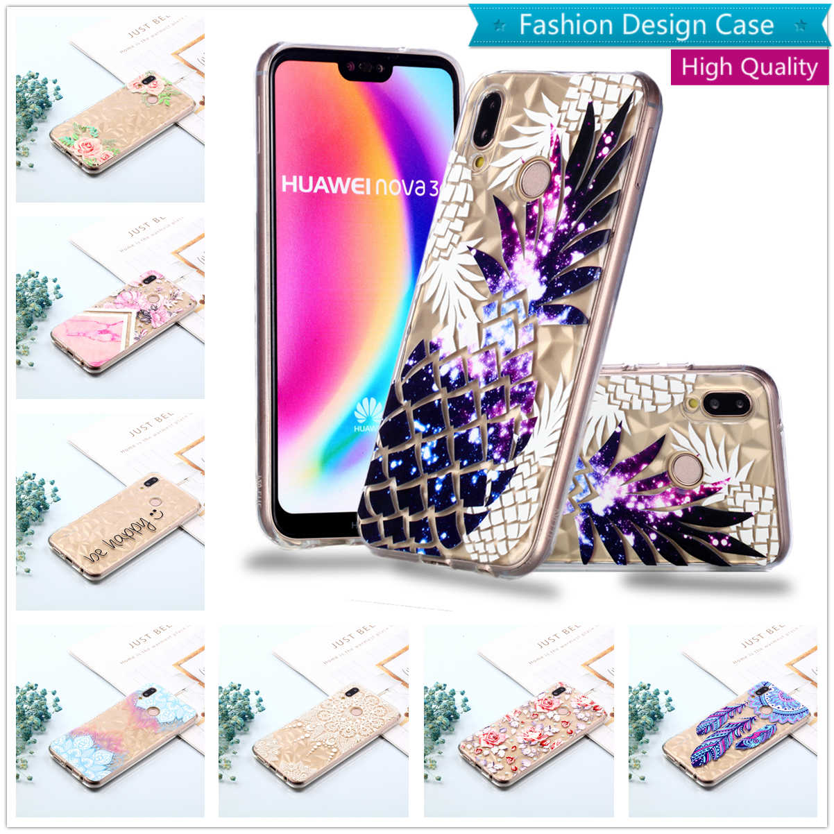 Caso for Huawei P20 Lite Capa Mate 20 Pro 10 TPU Soft Phone Case Transparent Coque Diamond Back Cover Huaewi Hawei Y9 Y6 Y5 2018