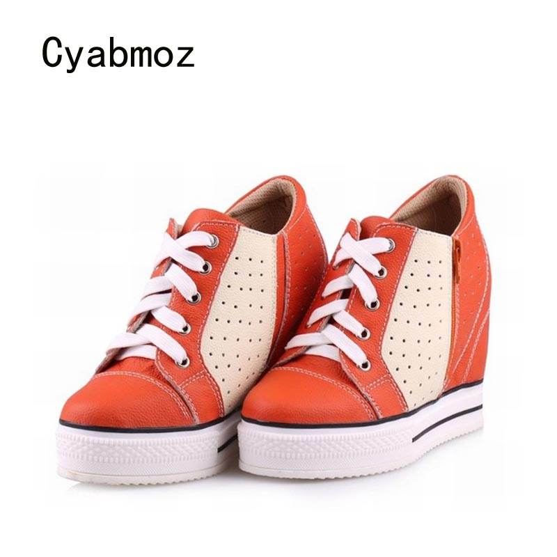 Cyabmoz Women Wedge Platform Shoes Woman High heels Height increasing Genuine leather Thick bottom Womens Casual Ladies Shoes bamboo womens driven 77 casual wedge