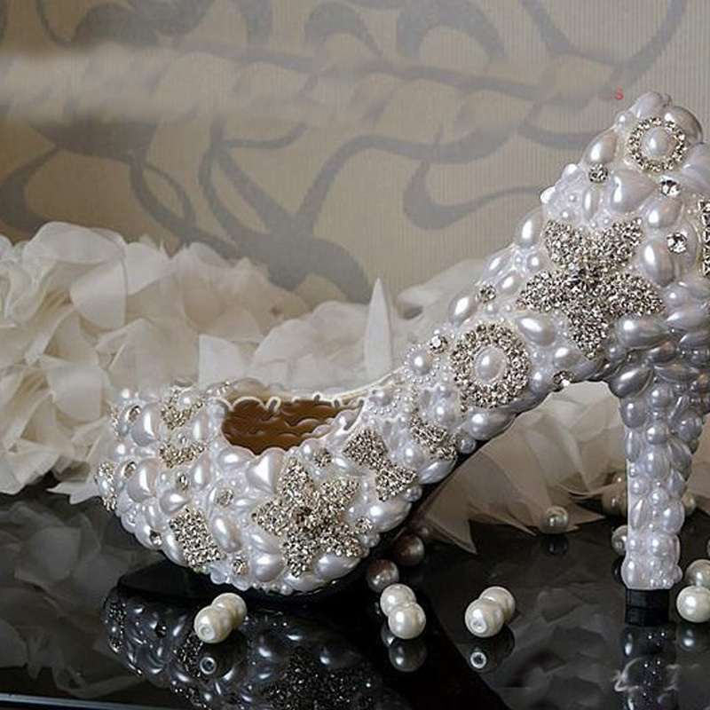 Handmade White 8 5cm Heel Wedding Dress Shoes Sparkling Rhienstone Bridal Shoes Dancing Party Prom Shoes
