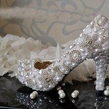Ручной Белый 8.5 см Каблук Свадебное Платье Обувь Игристые Rhienstone Свадебная Обувь Танцы Пром Обувь Вечернее Платье Обувь
