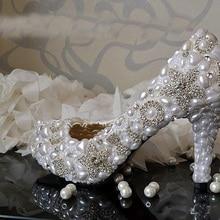Handmade Weiß 8,5 cm Ferse Hochzeit Kleid Schuhe Funkelnden Rhienstone Brautschuhe Tanzen Partei Prom Schuhe Abendkleid Schuh
