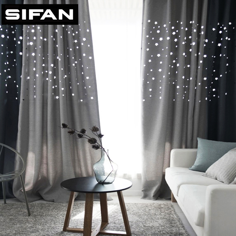Modern Hollow Star Faux Linen Blackout Curtains For Living