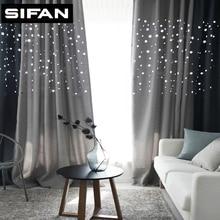 Superior Moderne Hohl Sterne Faux Bettwäsche Blackout Vorhänge Für Wohnzimmer  Schlafzimmer Vorhänge Fenster Vorhänge Für Das Schlafzimmer Images