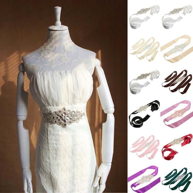 Fashion Rhinestones Applique Ribbon Wedding Sash Evening Dress Belt Handmade with Length RIbbon JL