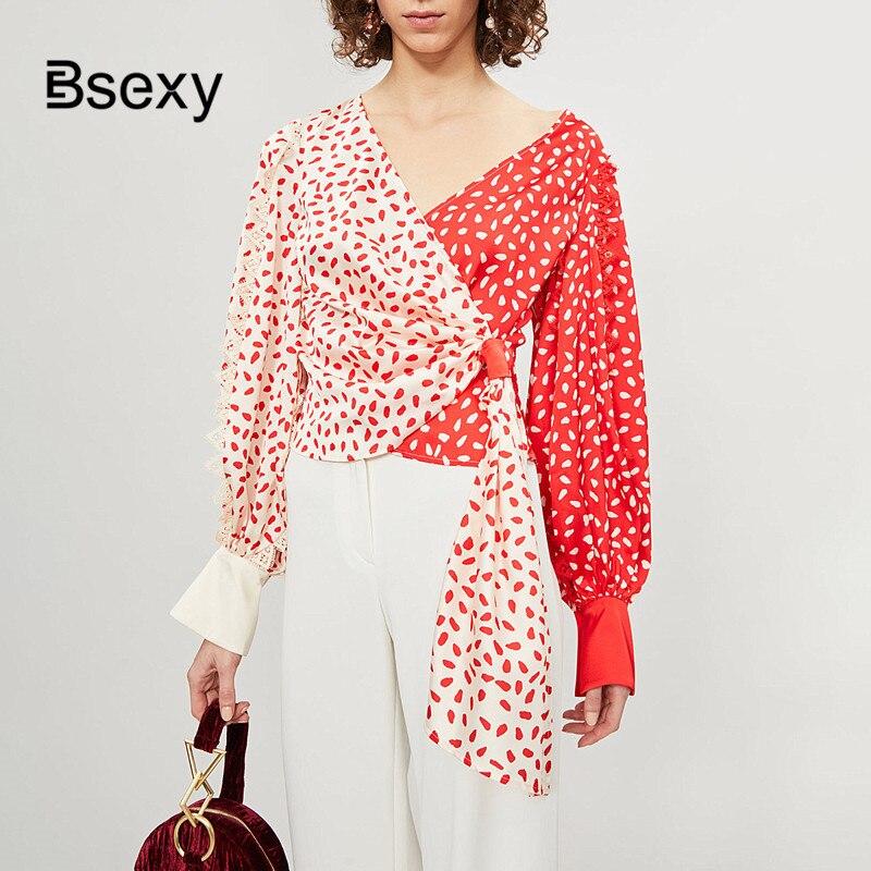 Blusas mujer de moda 2019 auto Portrait femmes blouses rose rouge couleur bloc col en V imprimé en mousseline de soie Blouse à manches longues hauts chemises