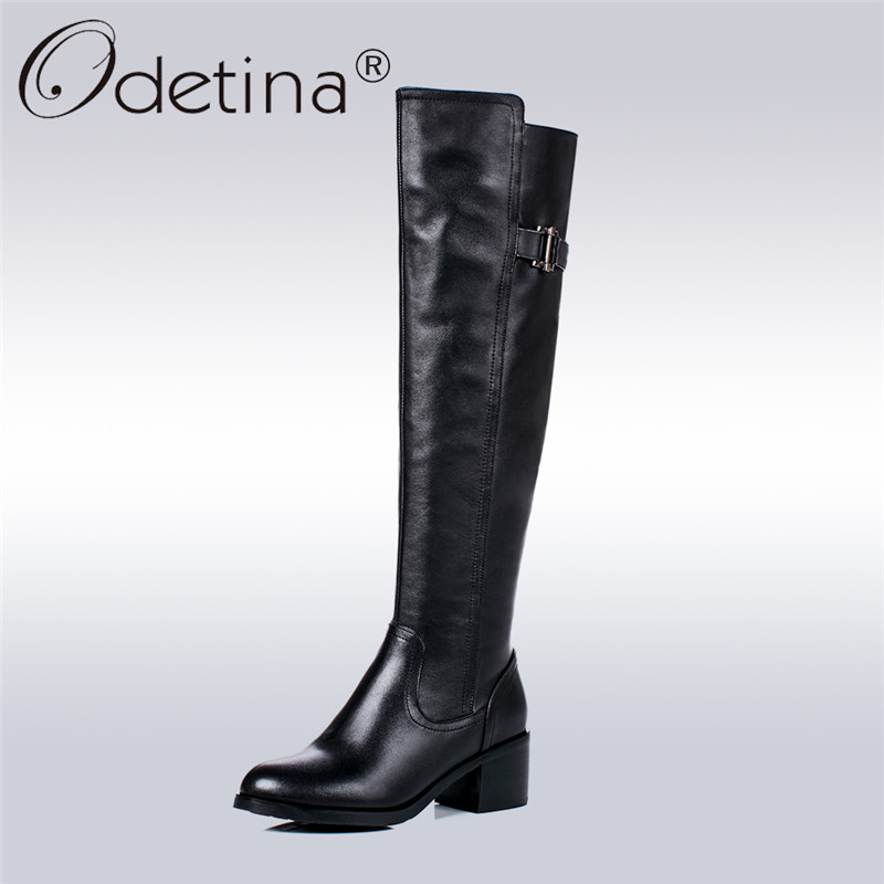 Odetina 100% Full Genuine Leather Women Winter Knee High Boots Round Toe Chunky Heel Riding Boots Buckle Warm Shoes Big Size 43 nayiduyun women genuine leather wedge high heel pumps platform creepers round toe slip on casual shoes boots wedge sneakers