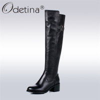 Odetina 100% Full Genuine Leather Women Winter Knee High Boots Round Toe Chunky Heel Riding Boots Buckle Warm Shoes Big Size 43