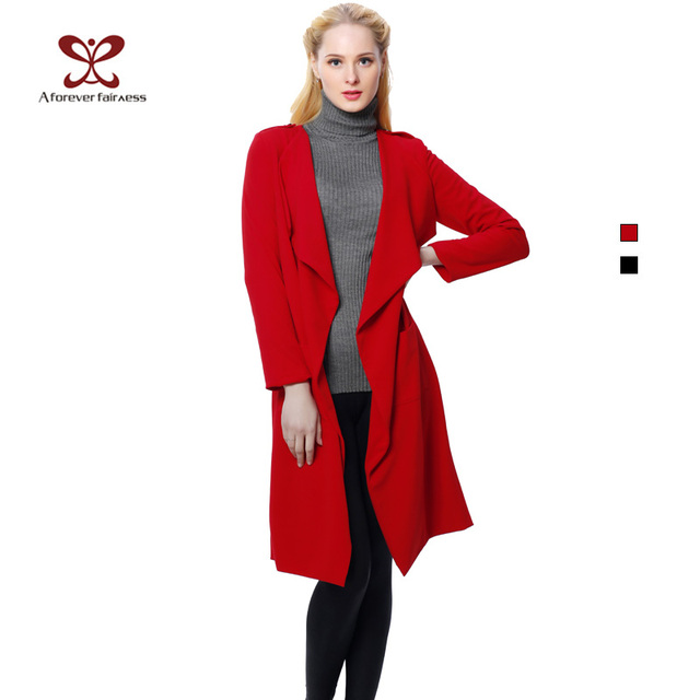 Women Coat Turn-down Collar Sides Pockets Long Sleeve Cardigan Plus Size Fashion Long Trench Coat For Women Autumn Coat  NC-388