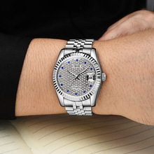 ANGELA BOS Full Rhinestones Silver Watch Men Top Quality Luxury Automatic Mechanical Date Stainless Steel Waterproof Wristwatch