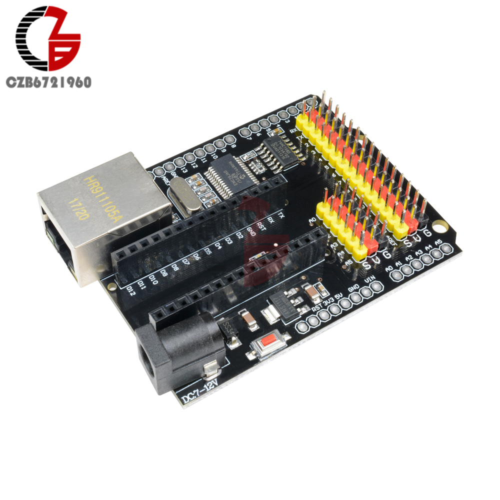 все цены на ENC28J60 Ethernet Network Module Shield V2.0 for Arduino UNO R3 CH340 Nano V3.0