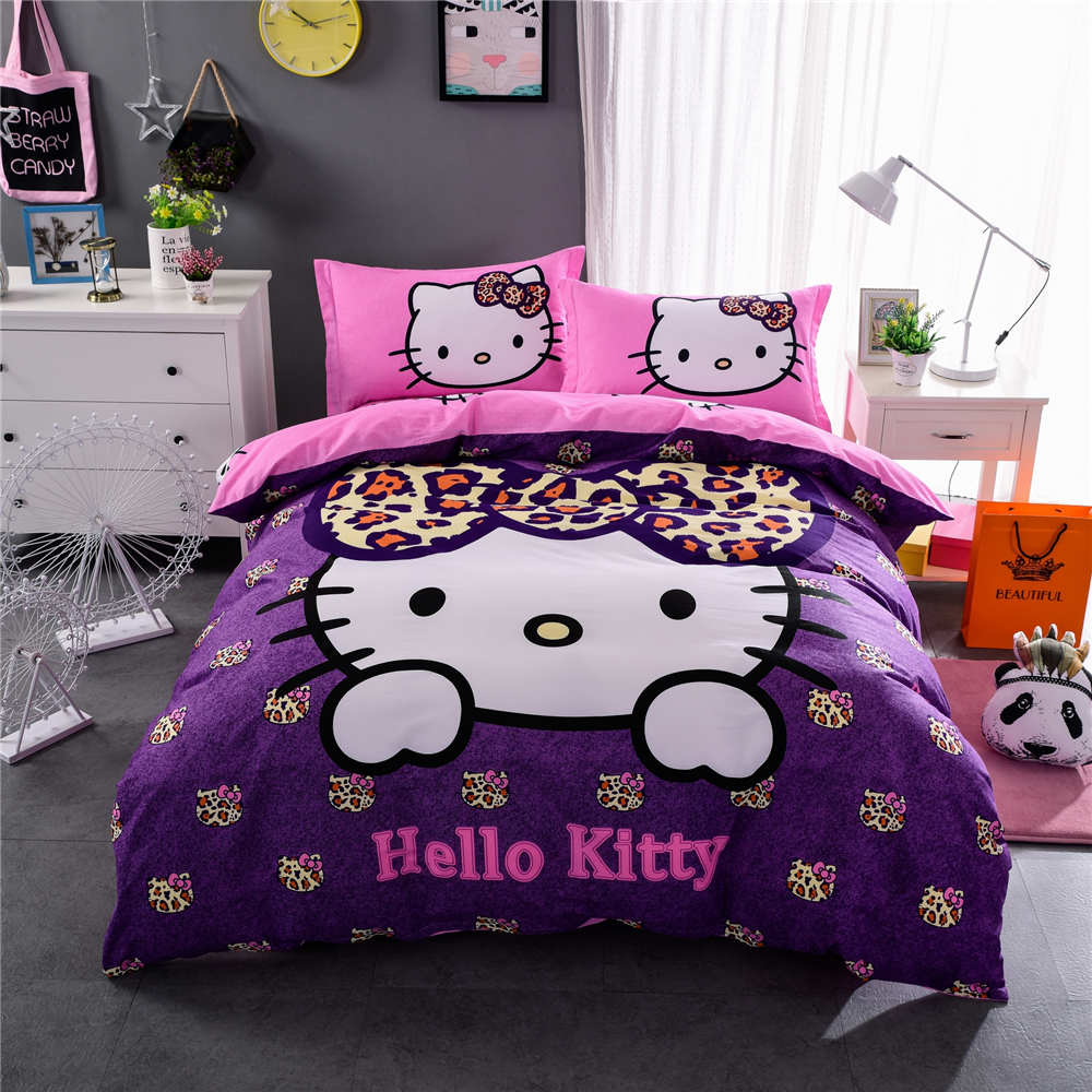 Sexy Leopard Skin Purple Pink Hello Kitty Print Bedding Set Quilt/Duvet Cover Cotton Bedspreads Girl's Twin Full Queen King Size