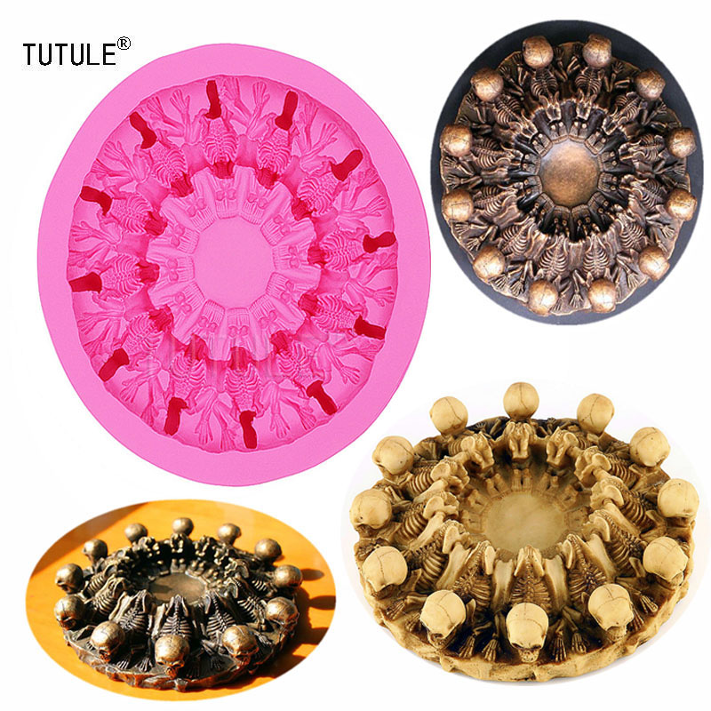 Gadgets 3D Skull Ashtray cake silicone mold chocolate gypsum candle soap candy kitchen baking mold