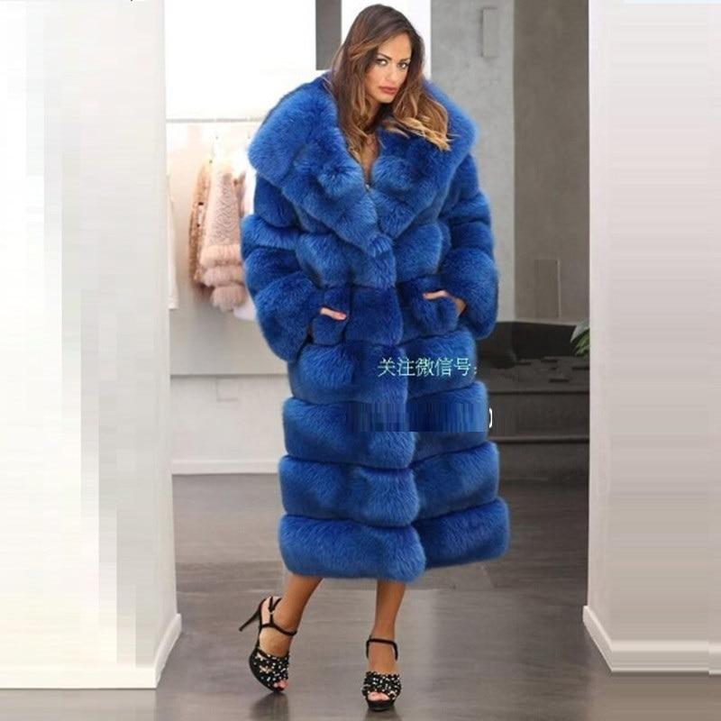 Mode La En Fausse X Manteau vert De Chaud Femmes Fourrure noir Épaissir long Lâche Nouveau Plus Qualité Européenne D'hiver 2017 Bleu Top Taille wtZnqEzW