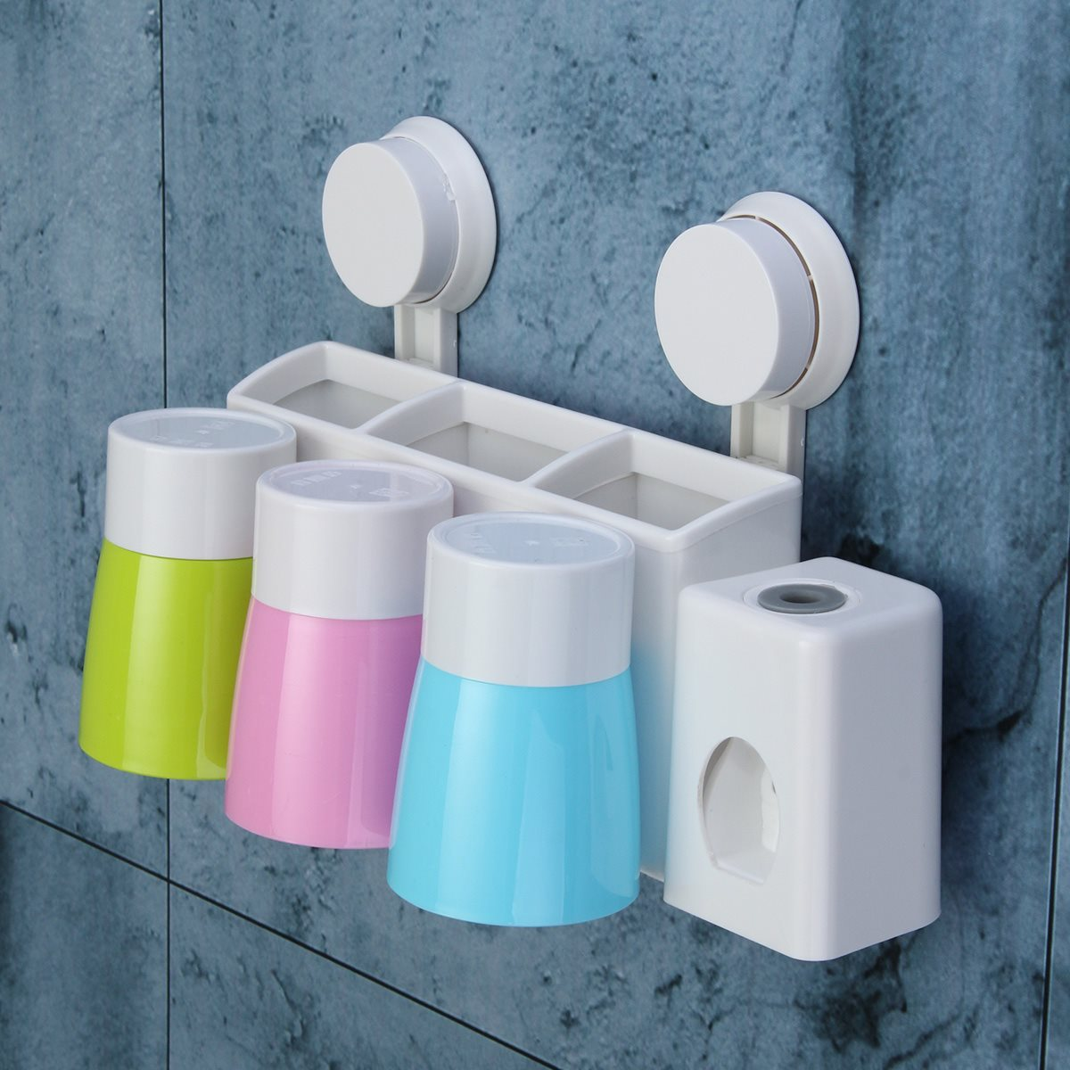 Automatic Toothpaste Dispenser Toothbrush Cups Holder Stand Sucker ...