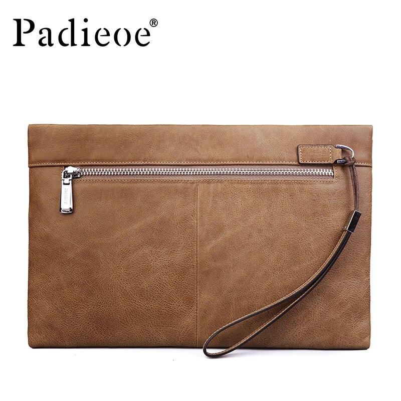 Padieoe 2017 nouvelle mode hommes pochettes de luxe marque en cuir véritable portefeuilles pour homme décontracté téléphone sacs Vintage porte-monnaie