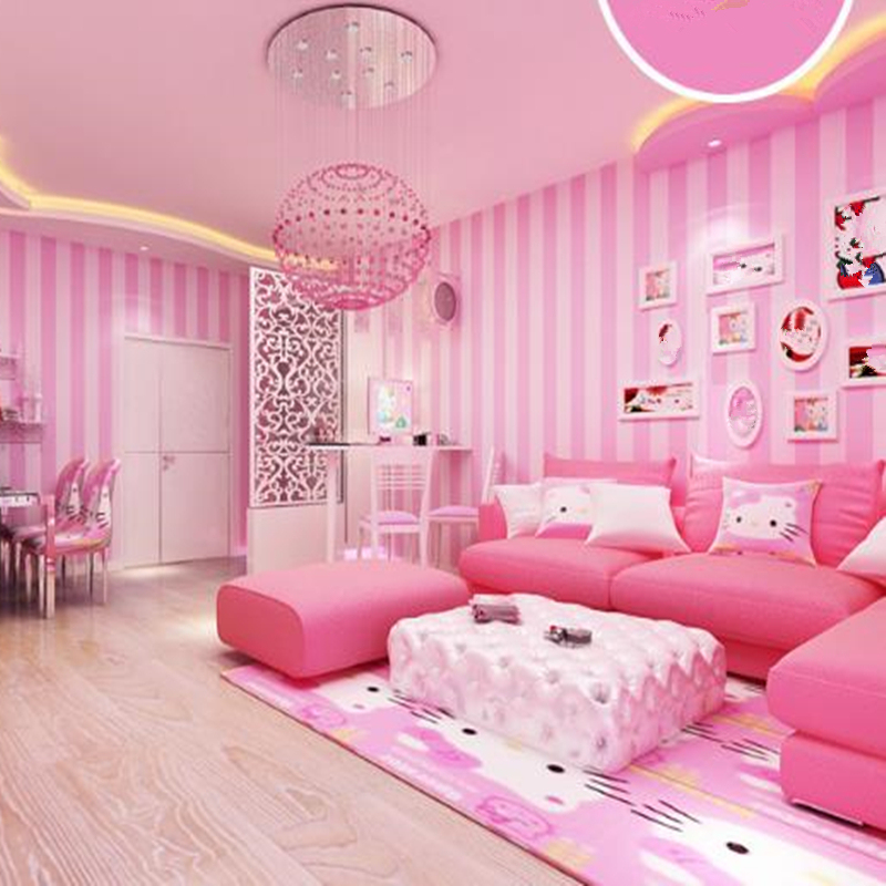 pink wall bedroom decor living modern striped wallpapers vertical 3d papers aliexpress walls paper