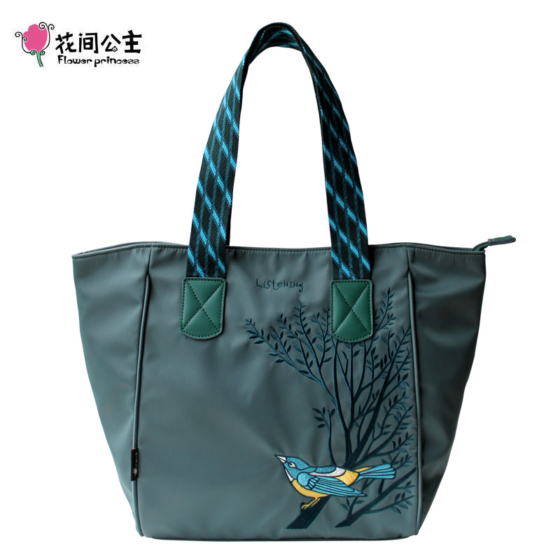 Flower Princess Nylon Embroidery Large Capacity Tote Shoulder Handbag Women High Quality Girls Ladies Hand Bags Bolsa Feminina цена