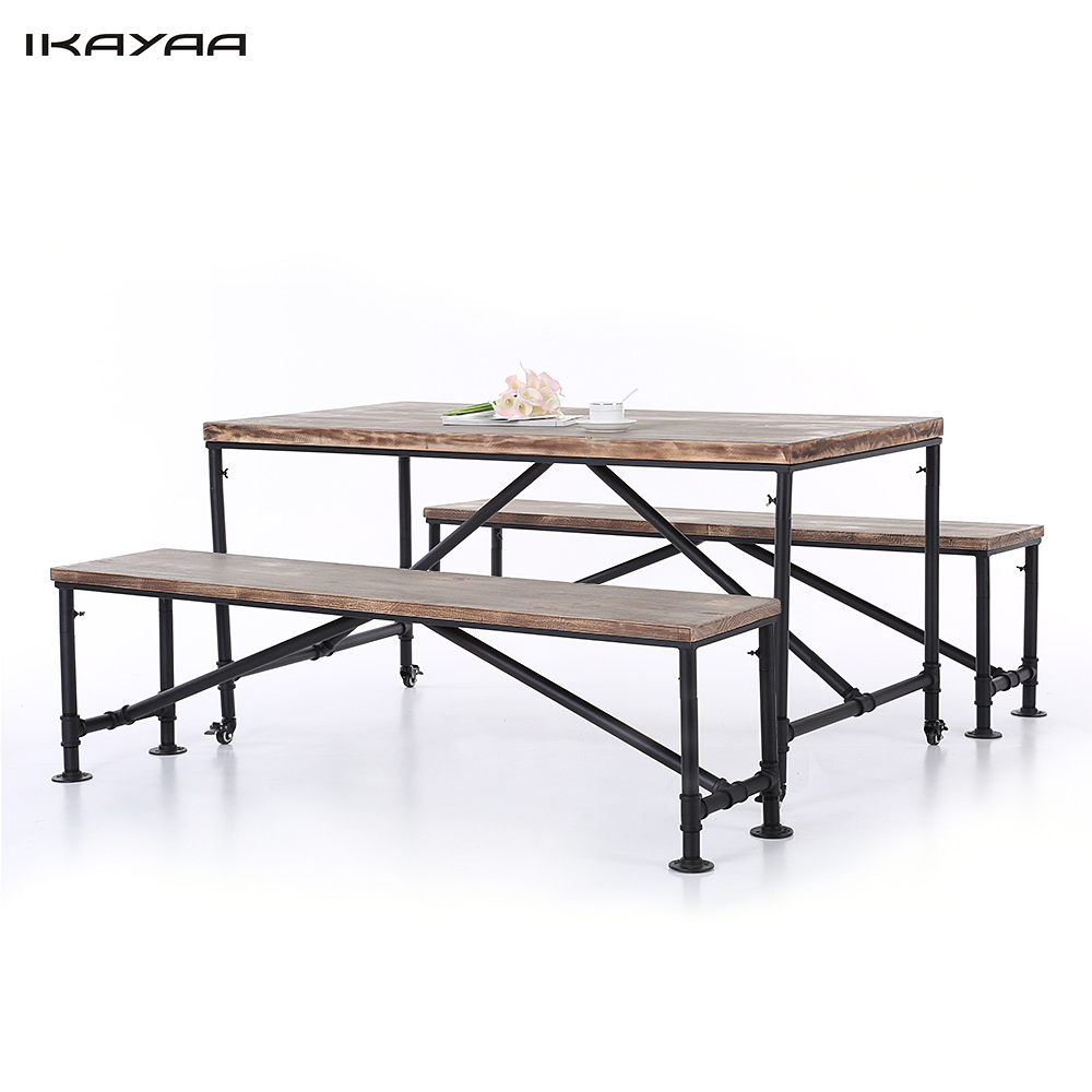 IKayaa US Stock 3PCS Pinewood Top Kitchen Dining Breakfast Table Bench Set Industrial Style Metal Hall