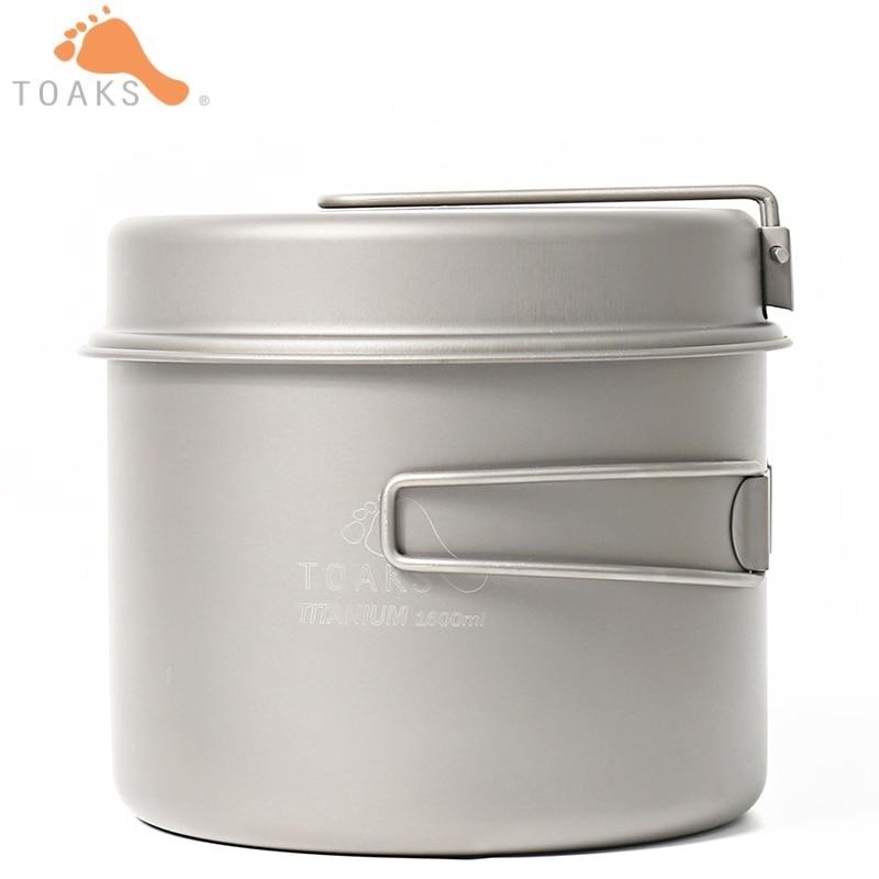 TOAKS Titamium batterie de cuisine fixe ultra-léger Portable en plein air Camping Pot en titane et casserole Anti-corrosion marmite poêle à frire CKW-1600