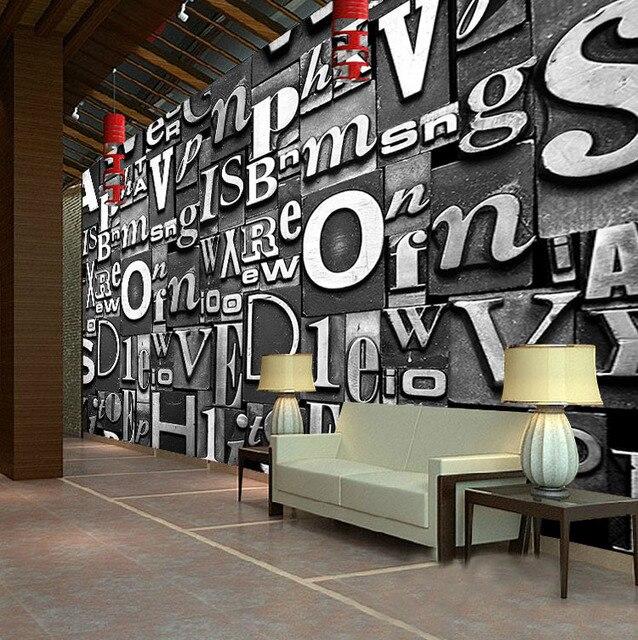 3D Buchstaben tapete Europäischen Vintage Style Benutzerdefinierte ...