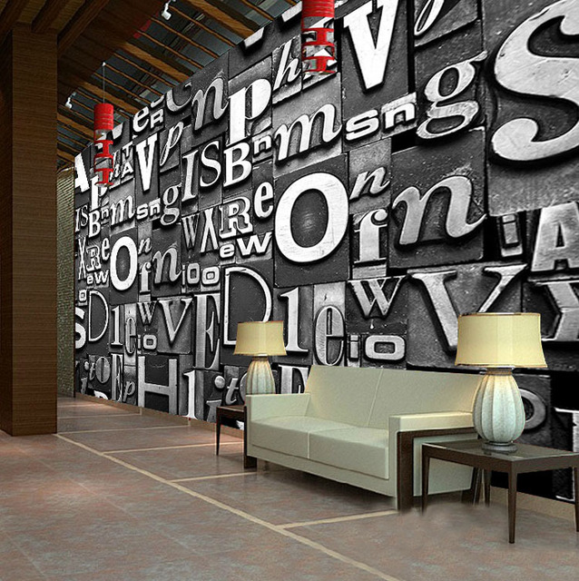3d lettres papier peint europ enne vintage style personnalis grande fresque murale salon. Black Bedroom Furniture Sets. Home Design Ideas