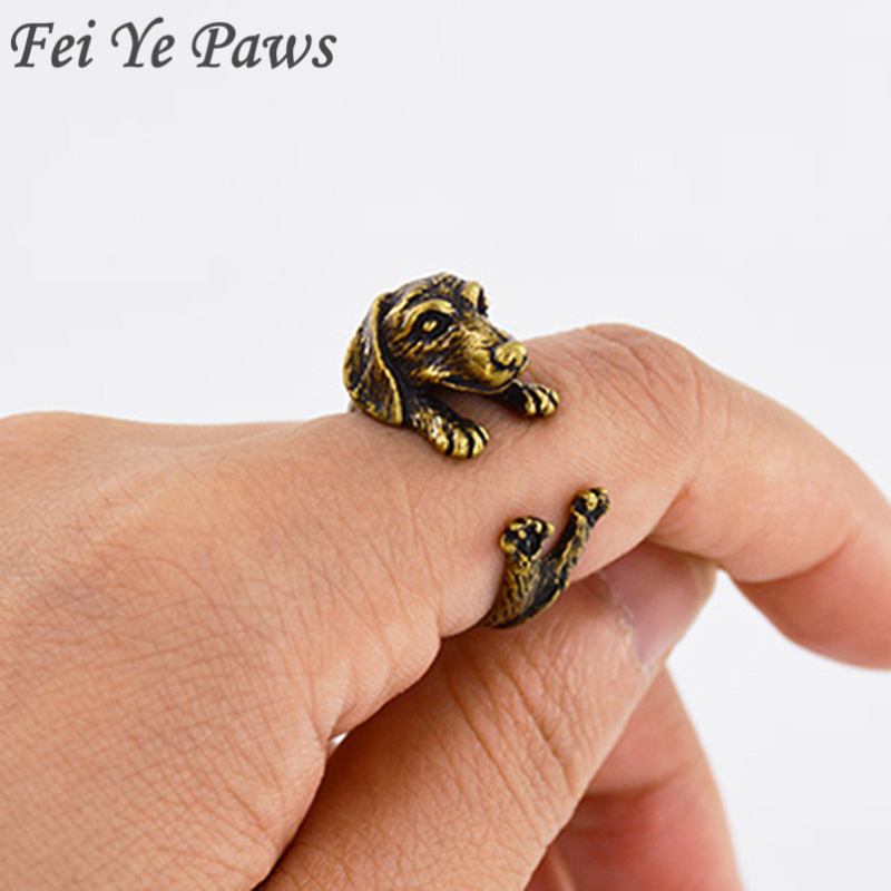 Sale 3colors Handmade Hippie Mid Finger Sausage Dog Ring Boho Chic Brass Knuckle Animal Dachshund Rings For Women Men Jewelry