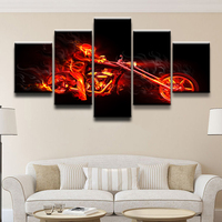 Canvas Wall Art Pictures Home Decor Living Room HD Prints 5 Pieces The Burning Motorcycle And
